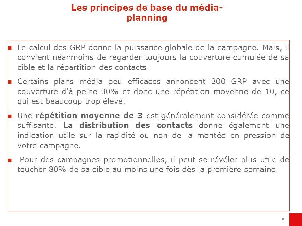 8 Les principes de base du média- planning Le calcul des GRP donne la puissance globale de la campagne. Mais, il convient néanmoins de regarder toujou