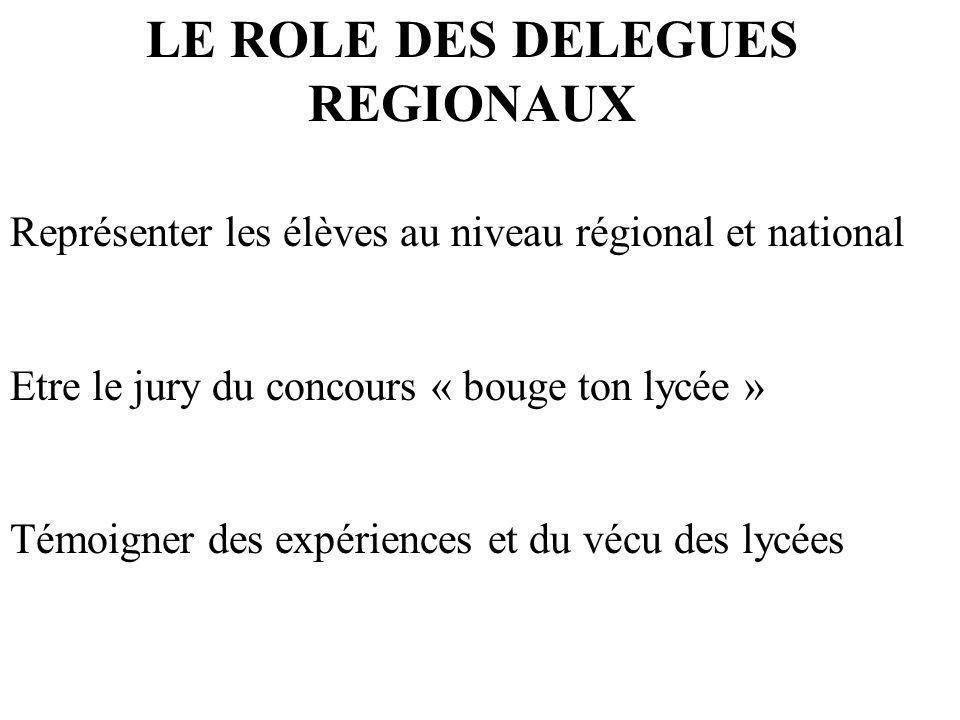 LE ROLE DES DELEGUES REGIONAUX Représenter les élèves au niveau régional et national Etre le jury du concours « bouge ton lycée » Témoigner des expéri