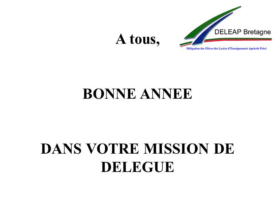 A tous, BONNE ANNEE DANS VOTRE MISSION DE DELEGUE