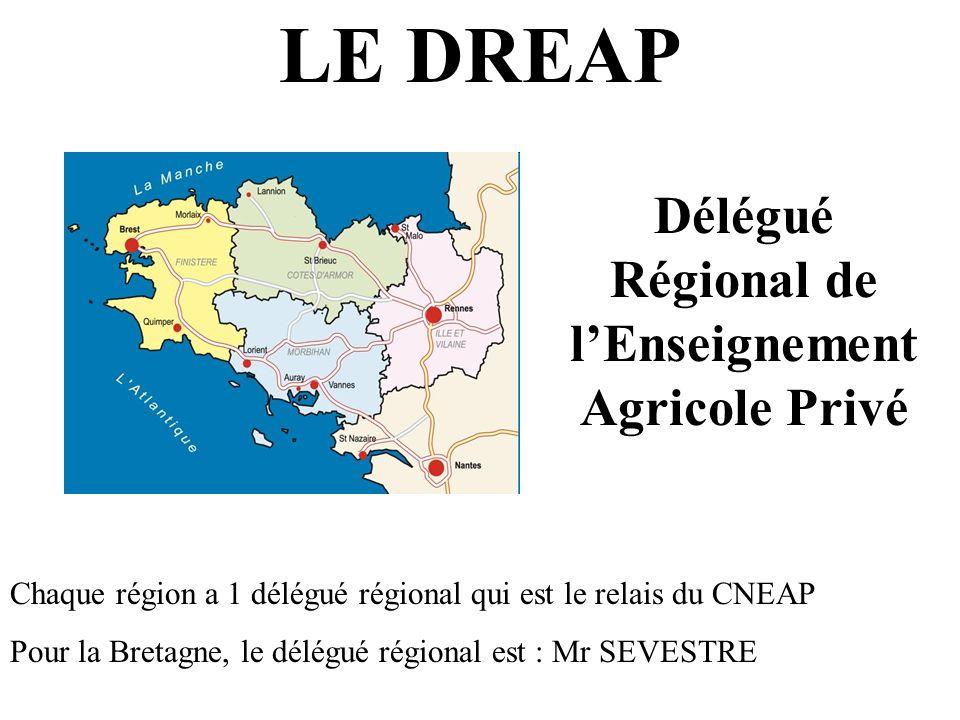 LE DREAP Délégué Régional de lEnseignement Agricole Privé Chaque région a 1 délégué régional qui est le relais du CNEAP Pour la Bretagne, le délégué r
