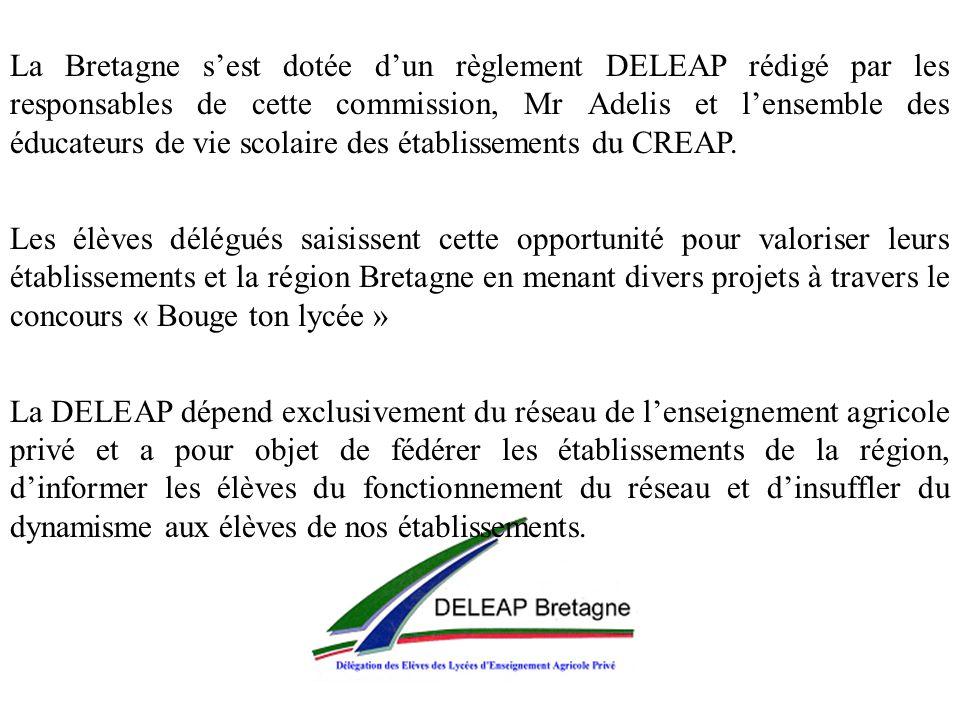 La Bretagne sest dotée dun règlement DELEAP rédigé par les responsables de cette commission, Mr Adelis et lensemble des éducateurs de vie scolaire des