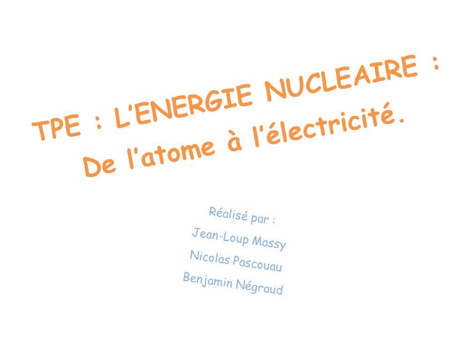 TPE : LENERGIE NUCLEAIRE : De latome à lélectricité. Réalisé par : Jean-Loup Massy Nicolas Pascouau Benjamin Négraud