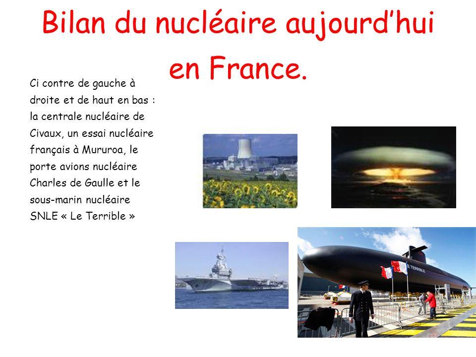 Bilan du nucléaire aujourdhui en France. Ci contre de gauche à droite et de haut en bas : la centrale nucléaire de Civaux, un essai nucléaire français
