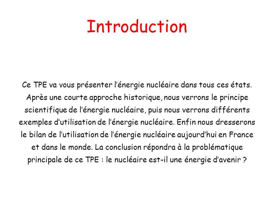 Introduction Ce TPE va vous présenter lénergie nucléaire dans tous ces états. Après une courte approche historique, nous verrons le principe scientifi