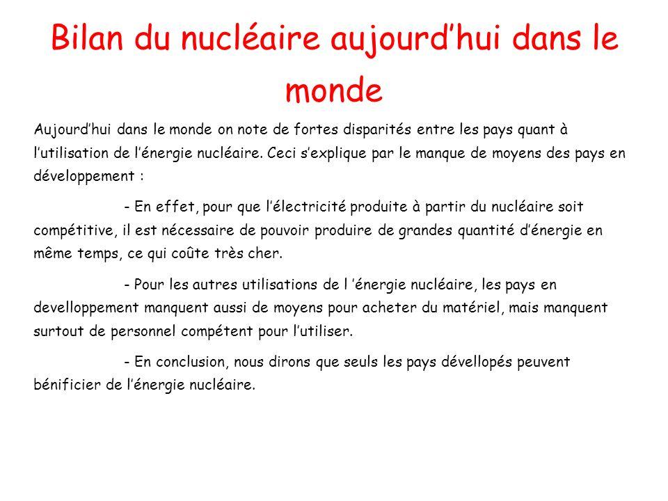 Bilan du nucléaire aujourdhui dans le monde Aujourdhui dans le monde on note de fortes disparités entre les pays quant à lutilisation de lénergie nucl
