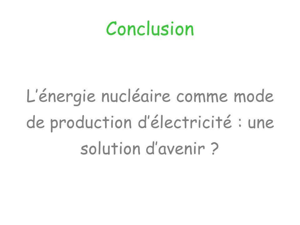Conclusion Lénergie nucléaire comme mode de production délectricité : une solution davenir ?