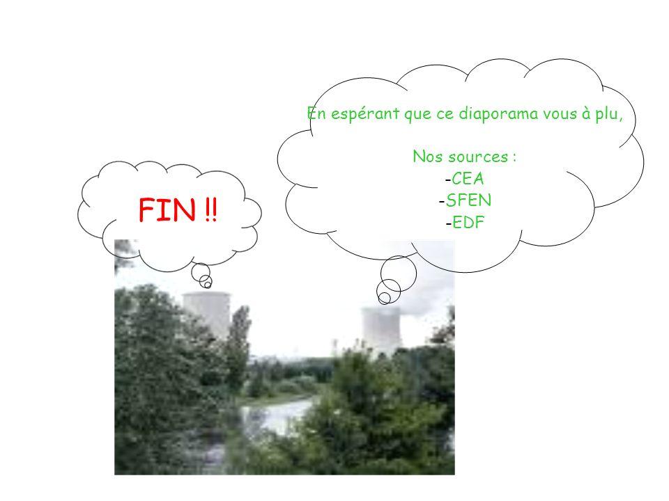 FIN !! En espérant que ce diaporama vous à plu, Nos sources : -CEA -SFEN -EDF