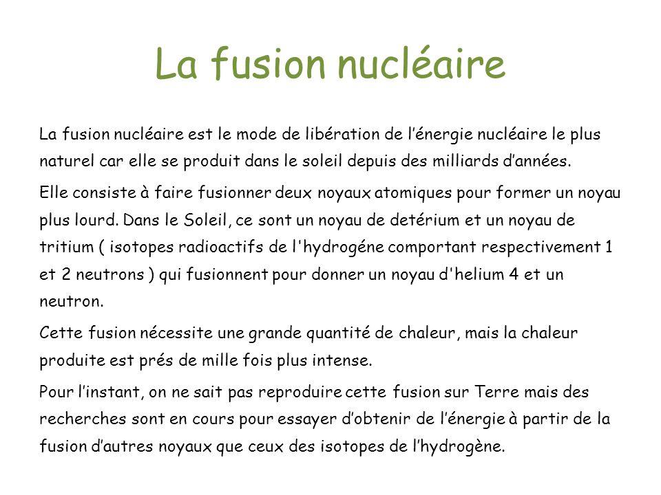 La fusion nucléaire La fusion nucléaire est le mode de libération de lénergie nucléaire le plus naturel car elle se produit dans le soleil depuis des