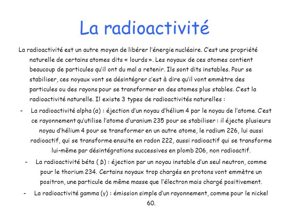 La radioactivité La radioactivité est un autre moyen de libérer lénergie nucléaire. Cest une propriété naturelle de certains atomes dits « lourds ». L