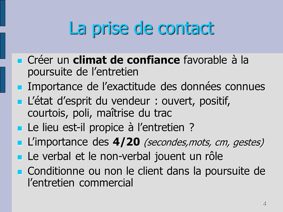 4 La prise de contact Créer un climat de confiance favorable à la poursuite de lentretien Créer un climat de confiance favorable à la poursuite de len