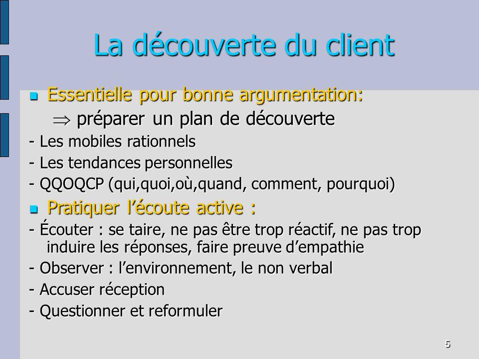 5 La découverte du client Essentielle pour bonne argumentation: Essentielle pour bonne argumentation: préparer un plan de découverte préparer un plan