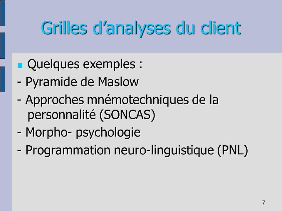 7 Grilles danalyses du client Quelques exemples : Quelques exemples : - Pyramide de Maslow - Approches mnémotechniques de la personnalité (SONCAS) - M
