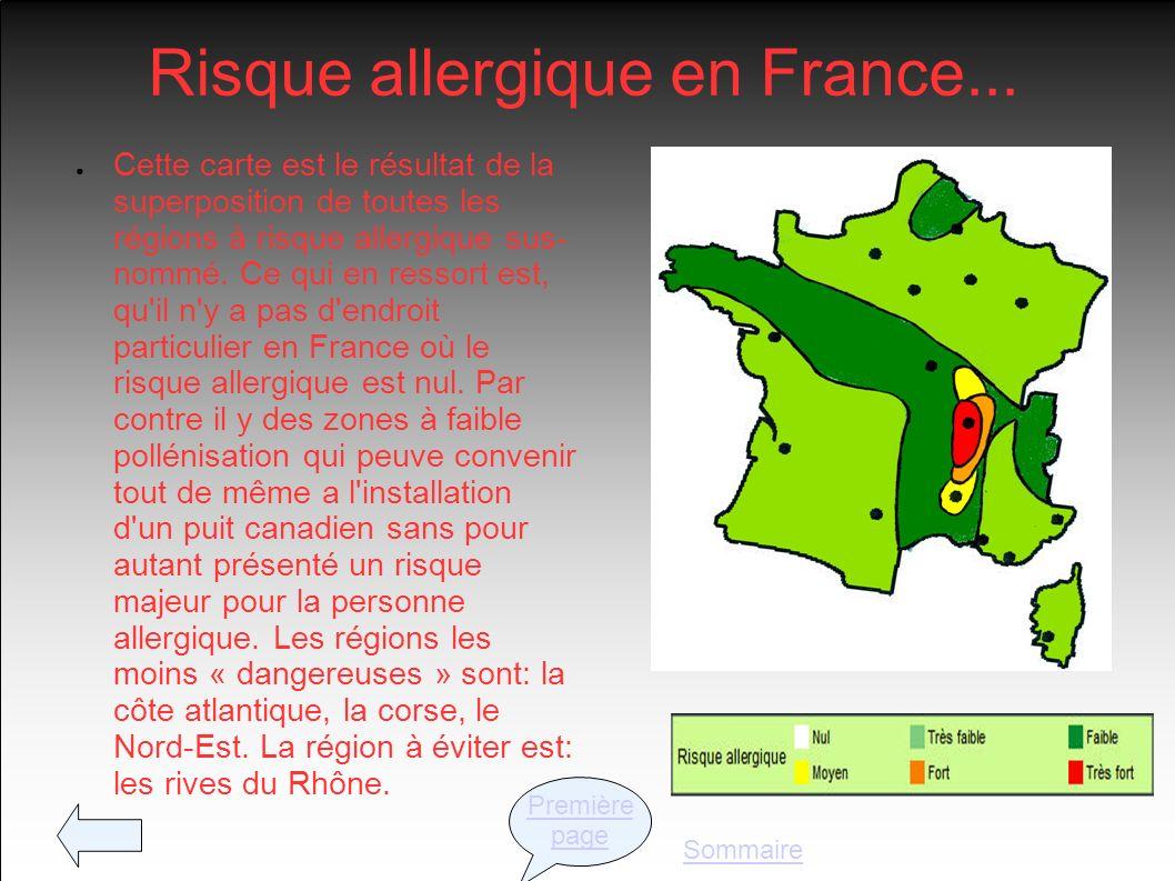 Risque allergique en France... Cette carte est le résultat de la superposition de toutes les régions à risque allergique sus- nommé. Ce qui en ressort