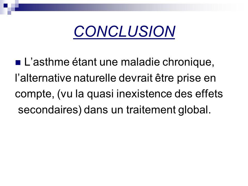 CONCLUSION Lasthme étant une maladie chronique, lalternative naturelle devrait être prise en compte, (vu la quasi inexistence des effets secondaires)