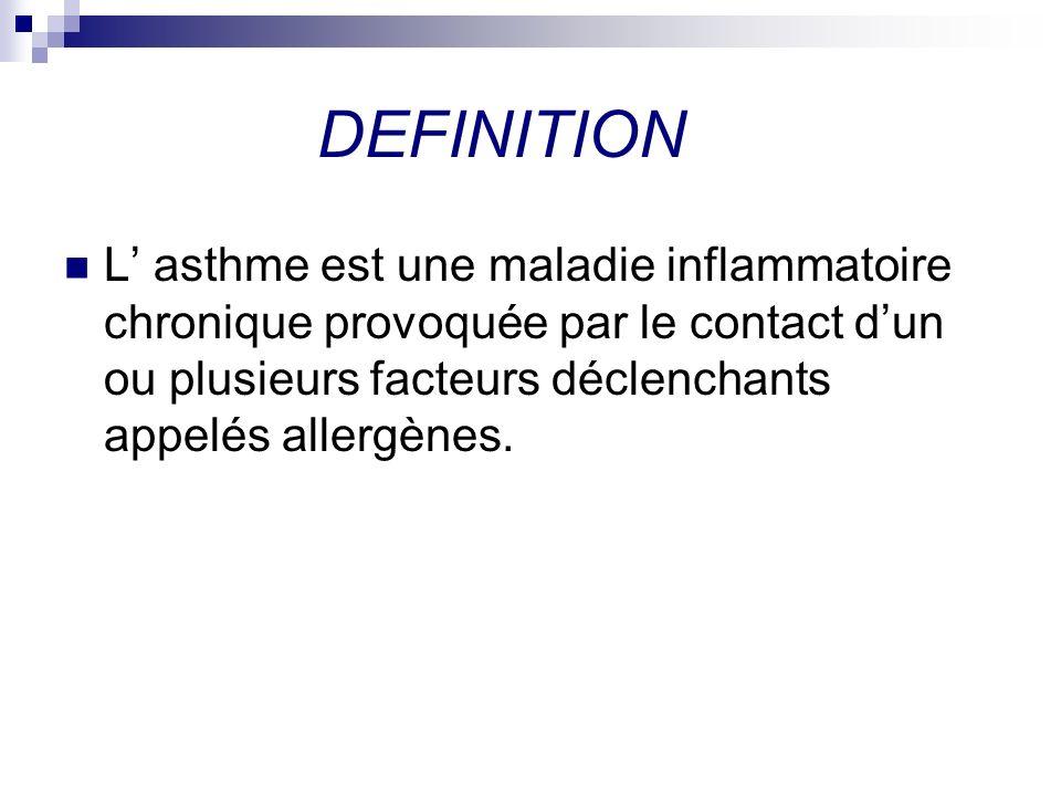 DEFINITION L asthme est une maladie inflammatoire chronique provoquée par le contact dun ou plusieurs facteurs déclenchants appelés allergènes.