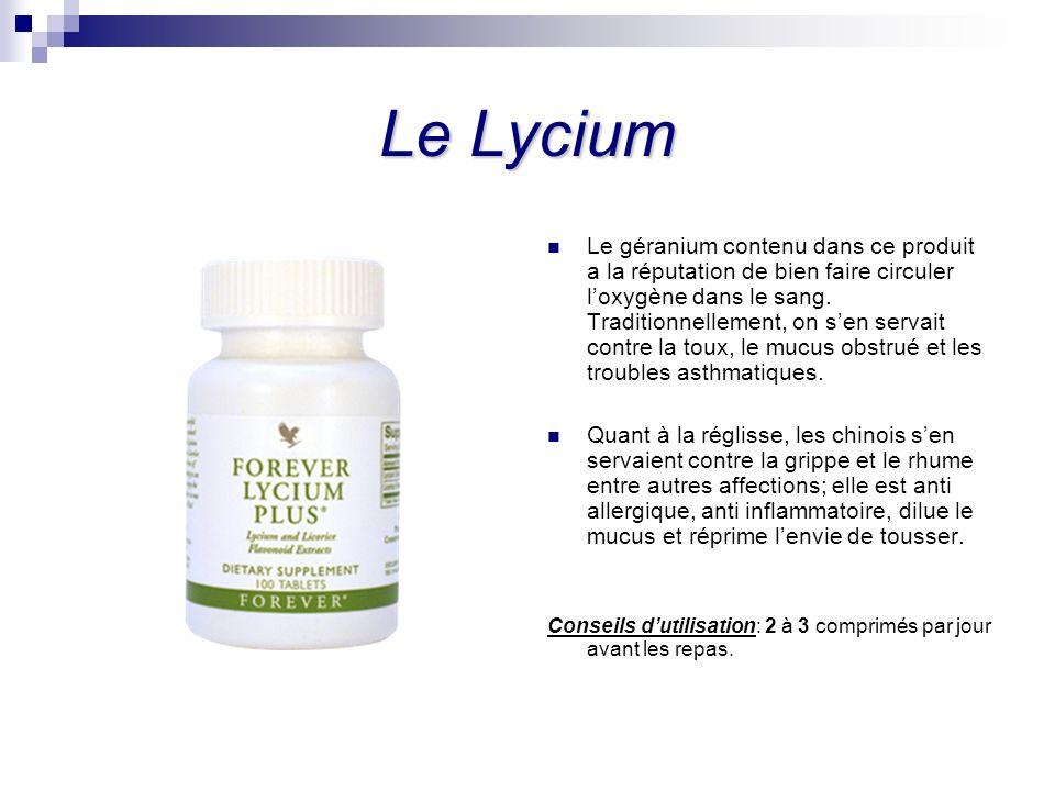 Le Lycium Le géranium contenu dans ce produit a la réputation de bien faire circuler loxygène dans le sang. Traditionnellement, on sen servait contre