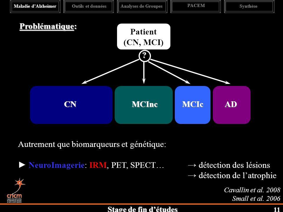 Stage de fin détudes Problématique: ADMCIcMCInc CN ? Autrement que biomarqueurs et génétique: NeuroImagerie: IRM, PET, SPECT… détection des lésions dé