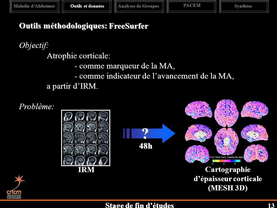 Stage de fin détudes Outils méthodologiques: Objectif: Atrophie corticale: - comme marqueur de la MA, - comme indicateur de lavancement de la MA, a partir dIRM.