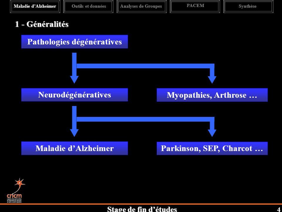 Stage de fin détudes Maladie dAlzheimerAnalyses de Groupes PACEM Synthèse Pathologies dégénératives Neurodégénératives Parkinson, SEP, Charcot … Maladie dAlzheimer Myopathies, Arthrose … 1 - Généralités Outils et données 4