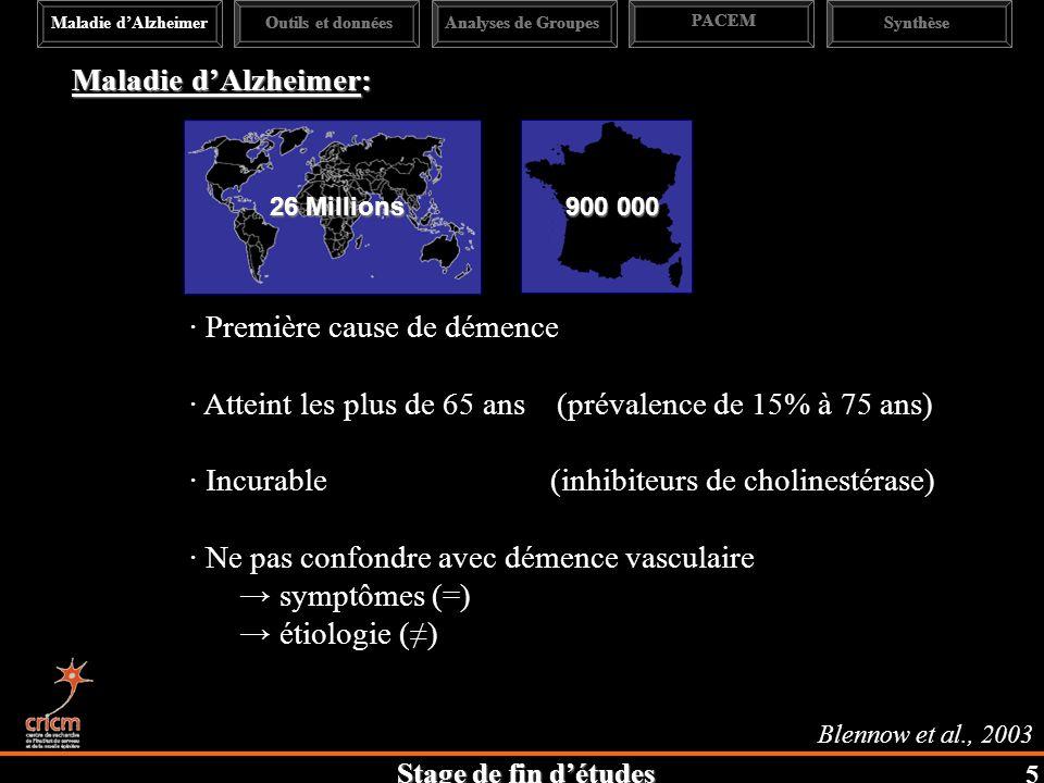 Stage de fin détudes Blennow et al., 2003 Maladie dAlzheimer: 26 Millions 900 000 · Première cause de démence · Atteint les plus de 65 ans (prévalence de 15% à 75 ans) · Incurable (inhibiteurs de cholinestérase) · Ne pas confondre avec démence vasculaire symptômes (=) étiologie () Maladie dAlzheimerAnalyses de Groupes PACEM SynthèseOutils et données 5