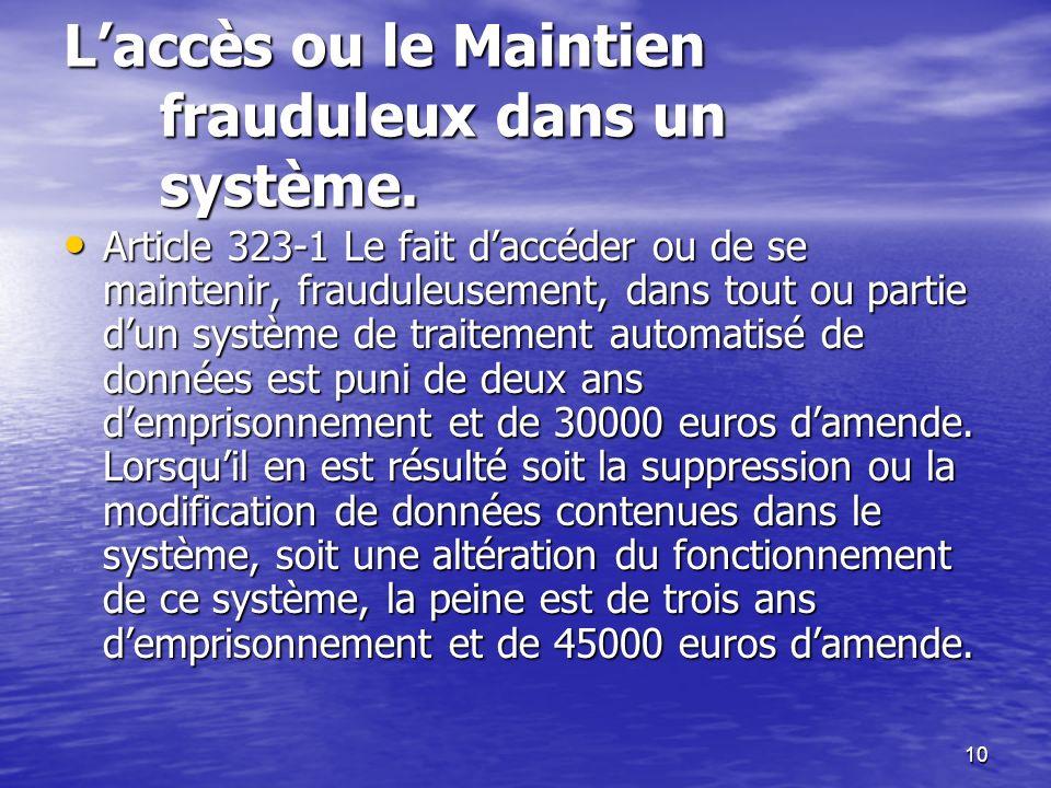 10 Laccès ou le Maintien frauduleux dans un système. Article 323-1 Le fait daccéder ou de se maintenir, frauduleusement, dans tout ou partie dun systè