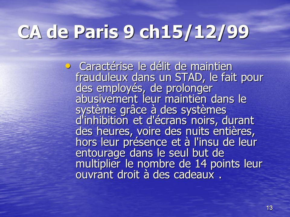 13 CA de Paris 9 ch15/12/99 Caractérise le délit de maintien frauduleux dans un STAD, le fait pour des employés, de prolonger abusivement leur maintie