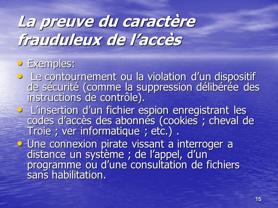 15 La preuve du caractère frauduleux de laccès La preuve du caractère frauduleux de laccès Exemples: Exemples: Le contournement ou la violation dun di