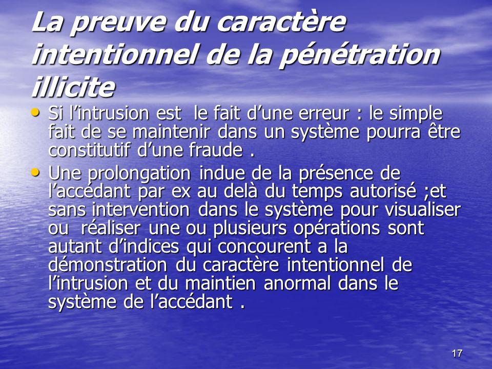 17 La preuve du caractère intentionnel de la pénétration illicite La preuve du caractère intentionnel de la pénétration illicite Si lintrusion est le