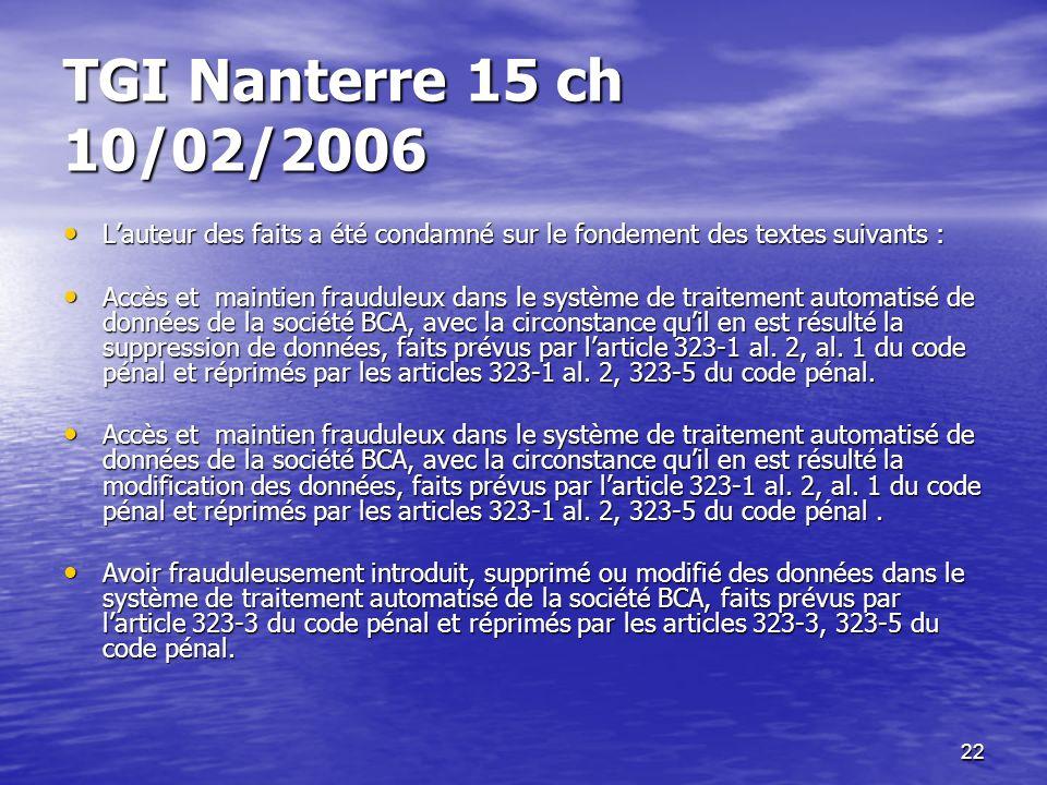 22 TGI Nanterre 15 ch 10/02/2006 Lauteur des faits a été condamné sur le fondement des textes suivants : Lauteur des faits a été condamné sur le fonde