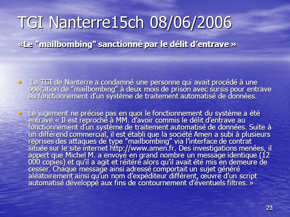 23 TGI Nanterre15ch 08/06/2006 «Le