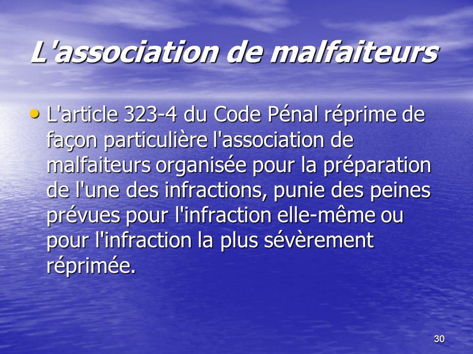 30 L'association de malfaiteurs L'article 323-4 du Code Pénal réprime de façon particulière l'association de malfaiteurs organisée pour la préparation