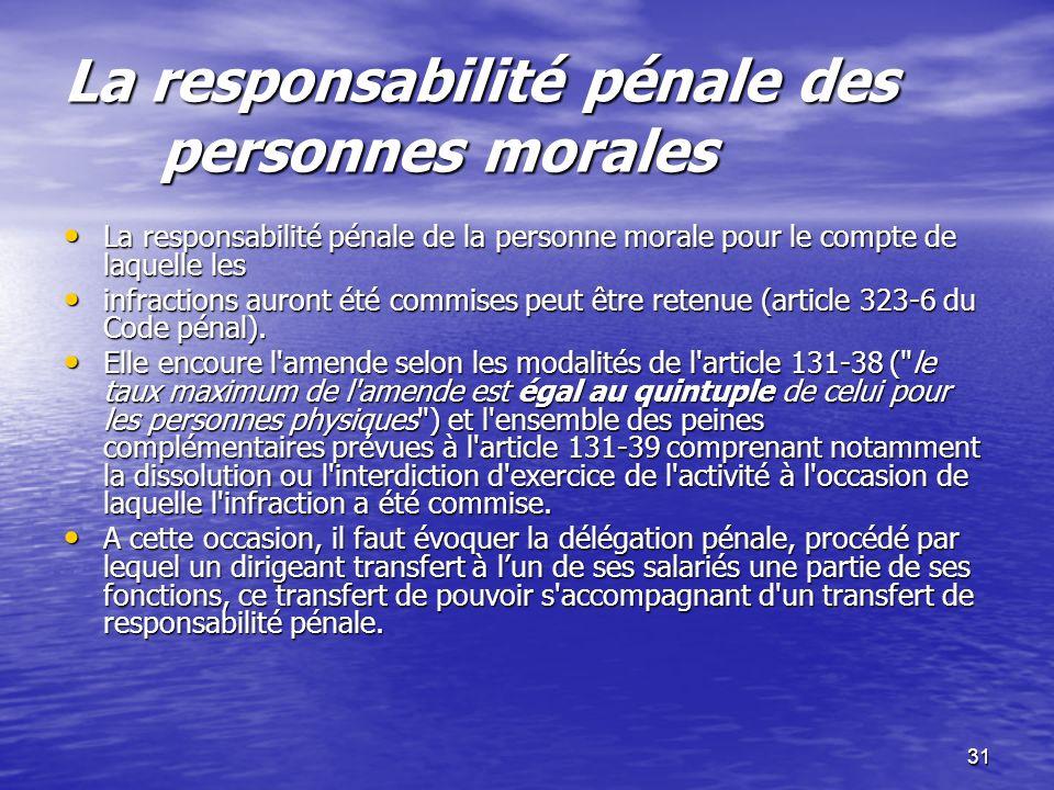 31 La responsabilité pénale des personnes morales La responsabilité pénale de la personne morale pour le compte de laquelle les La responsabilité péna