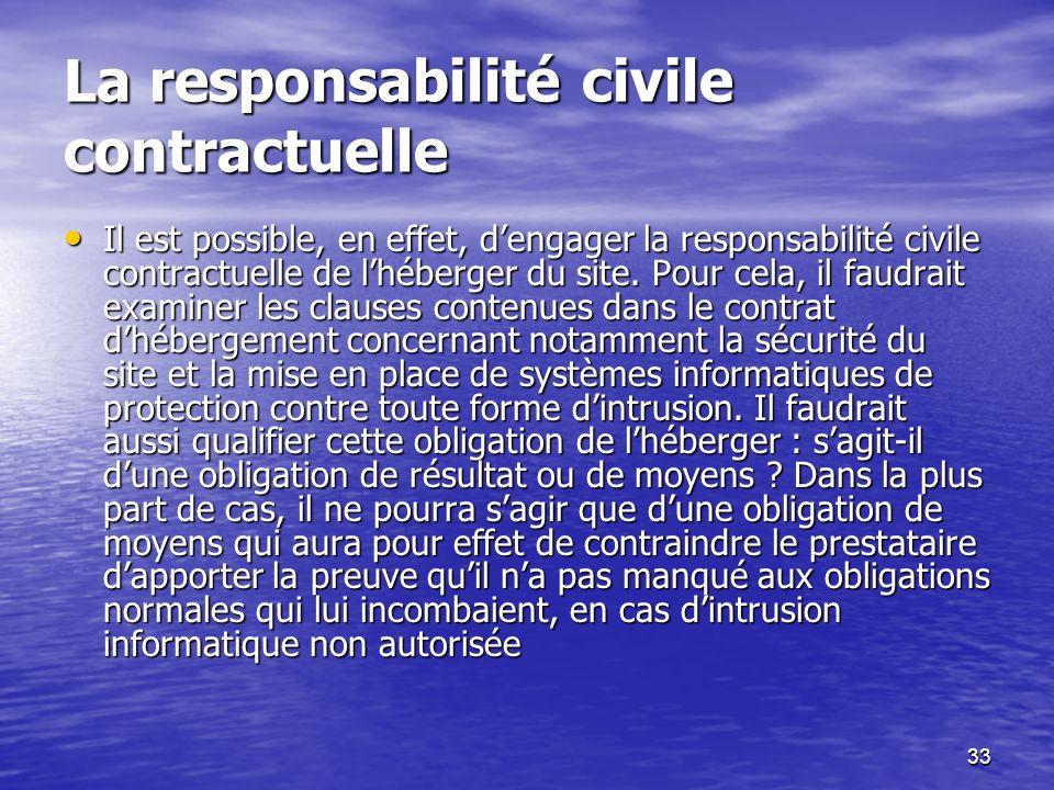 33 La responsabilité civile contractuelle Il est possible, en effet, dengager la responsabilité civile contractuelle de lhéberger du site. Pour cela,