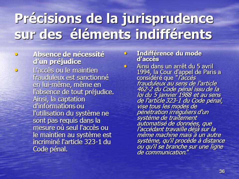 36 Précisions de la jurisprudence sur des éléments indifférents Précisions de la jurisprudence sur des éléments indifférents Absence de nécessité d'un