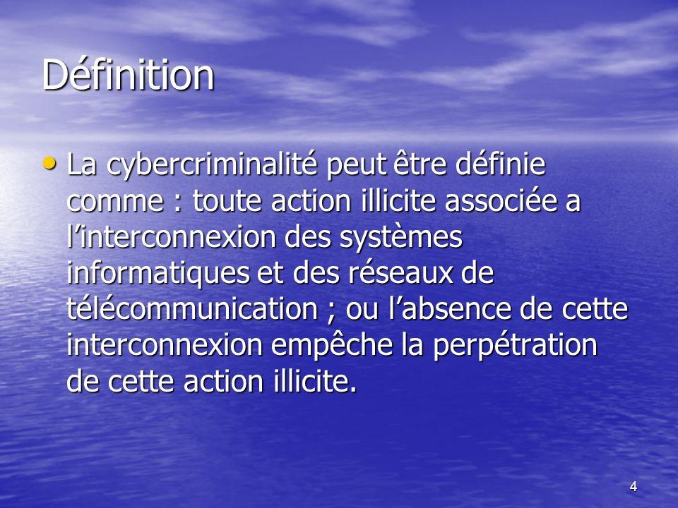 4 Définition La cybercriminalité peut être définie comme : toute action illicite associée a linterconnexion des systèmes informatiques et des réseaux