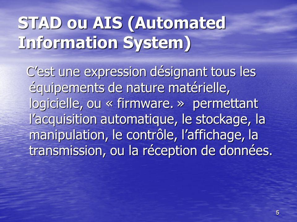5 STAD ou AIS (Automated Information System) STAD ou AIS (Automated Information System) Cest une expression désignant tous les équipements de nature m