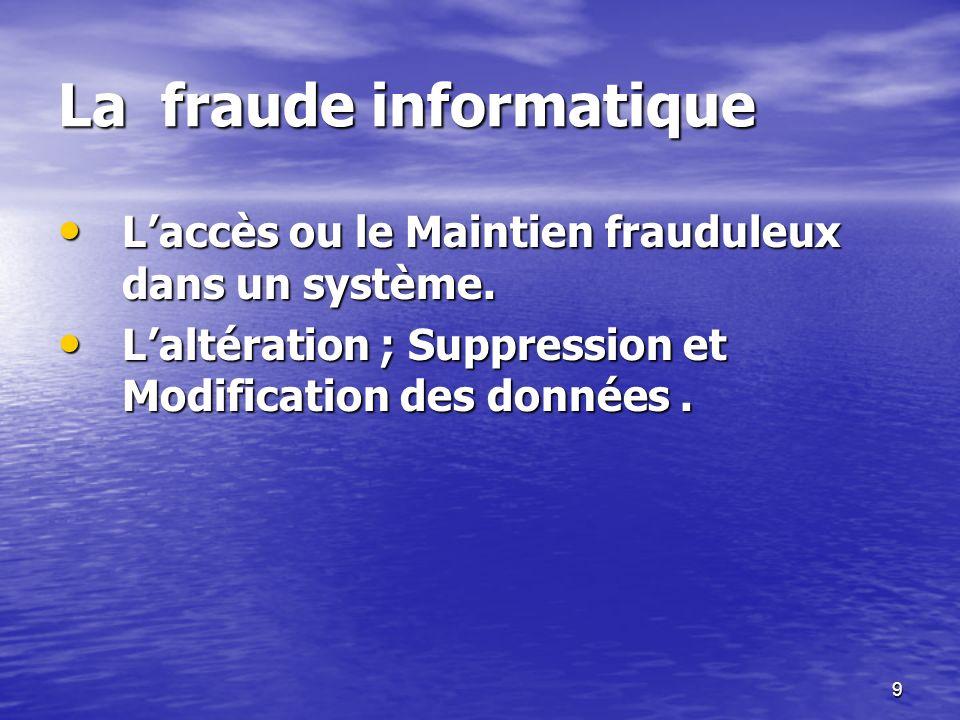 9 La fraude informatique Laccès ou le Maintien frauduleux dans un système. Laccès ou le Maintien frauduleux dans un système. Laltération ; Suppression