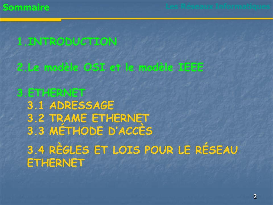 1 Chapitre VIII Chapitre VIII RESEAUX LOCAUX Ethernet Les Réseaux Informatiques
