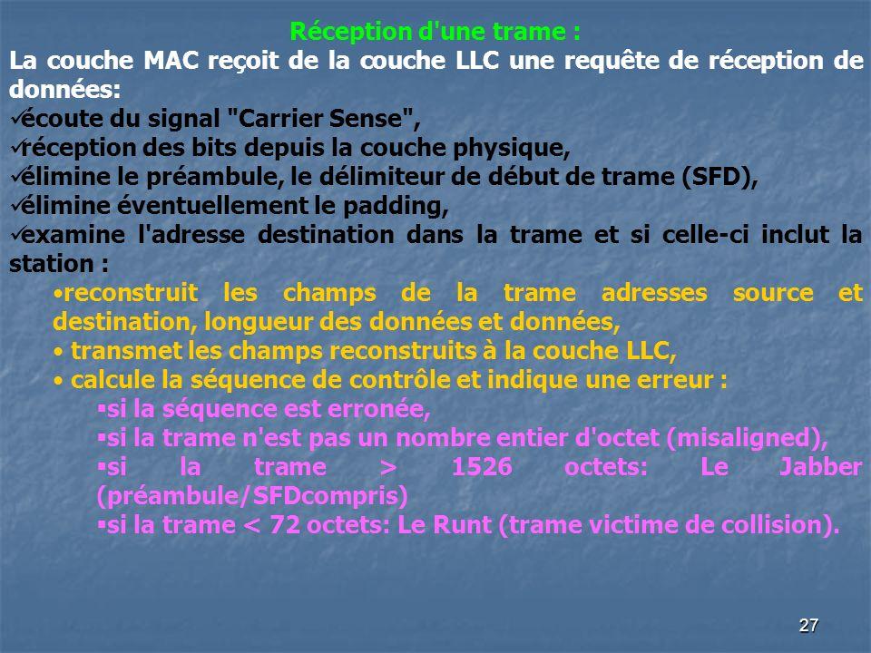 26 La sous-couche MAC elle met en oeuvre le protocole CSMA/CD : elle est chargée de mettre en forme les trames de données avec détection des erreurs d