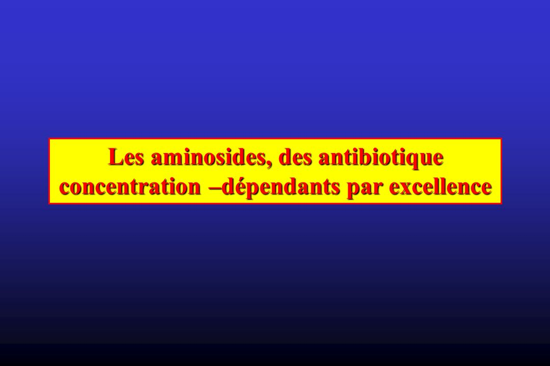 Les aminosides, des antibiotique concentration –dépendants par excellence