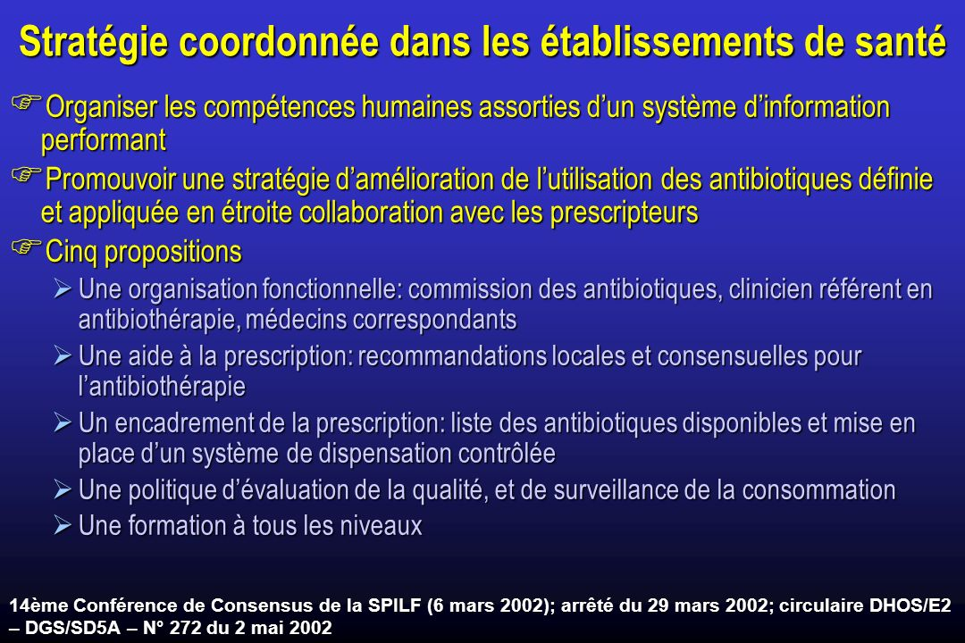 Stratégie coordonnée dans les établissements de santé Organiser les compétences humaines assorties dun système dinformation performant Organiser les c