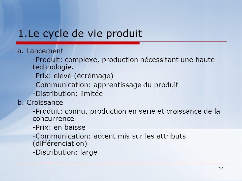 14 1.Le cycle de vie produit a. Lancement -Produit: complexe, production nécessitant une haute technologie. -Prix: élevé (écrémage) -Communication: ap
