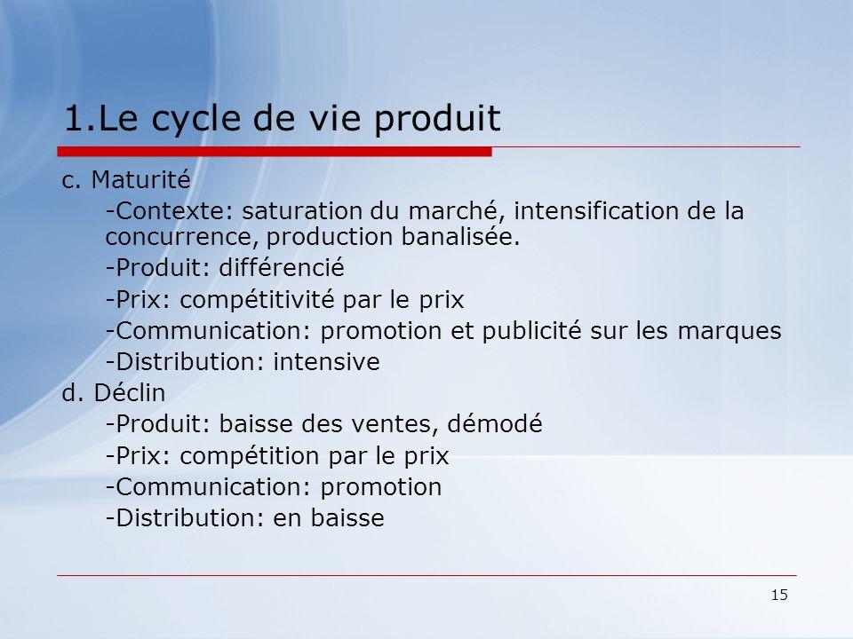 15 1.Le cycle de vie produit c. Maturité -Contexte: saturation du marché, intensification de la concurrence, production banalisée. -Produit: différenc