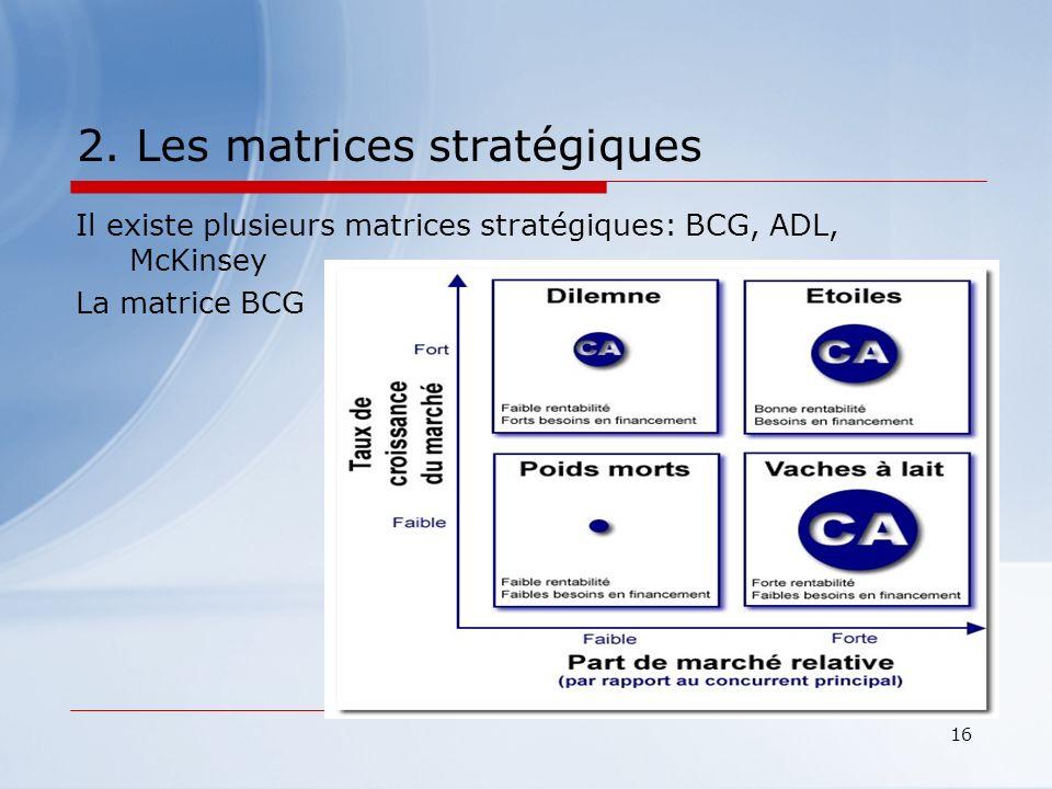 16 2. Les matrices stratégiques Il existe plusieurs matrices stratégiques: BCG, ADL, McKinsey La matrice BCG