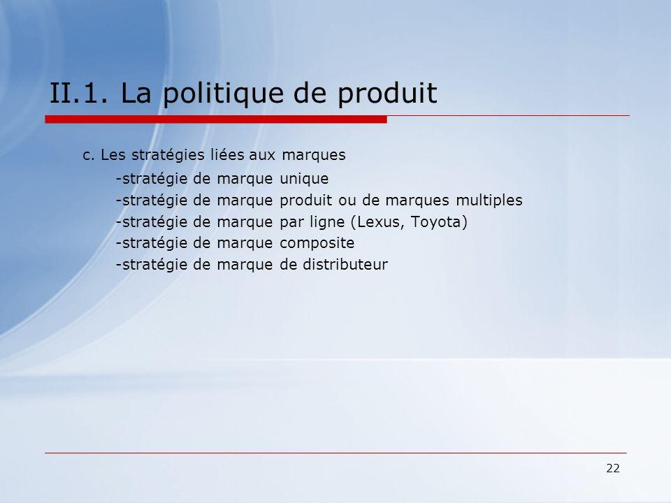 22 II.1. La politique de produit c. Les stratégies liées aux marques -stratégie de marque unique -stratégie de marque produit ou de marques multiples