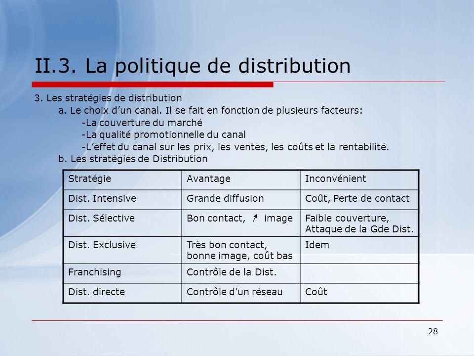 28 II.3. La politique de distribution 3. Les stratégies de distribution a. Le choix dun canal. Il se fait en fonction de plusieurs facteurs: -La couve