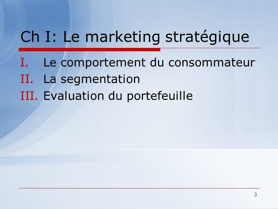 3 Ch I: Le marketing stratégique I.Le comportement du consommateur II.La segmentation III.Evaluation du portefeuille