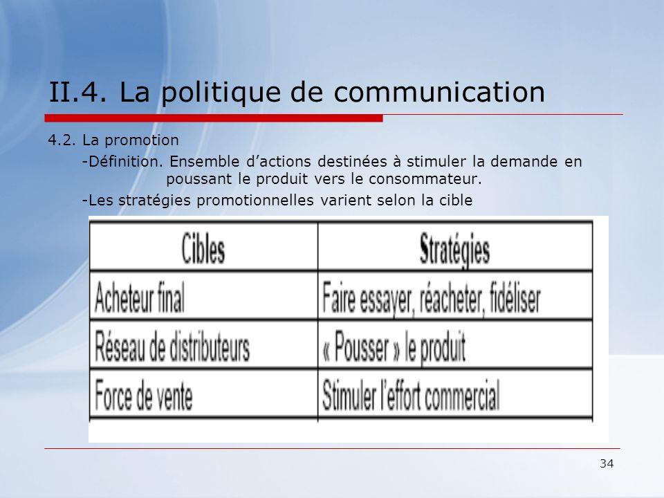 34 II.4. La politique de communication 4.2. La promotion -Définition. Ensemble dactions destinées à stimuler la demande en poussant le produit vers le