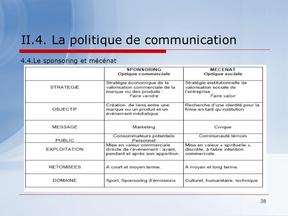 38 II.4. La politique de communication 4.4.Le sponsoring et mécénat