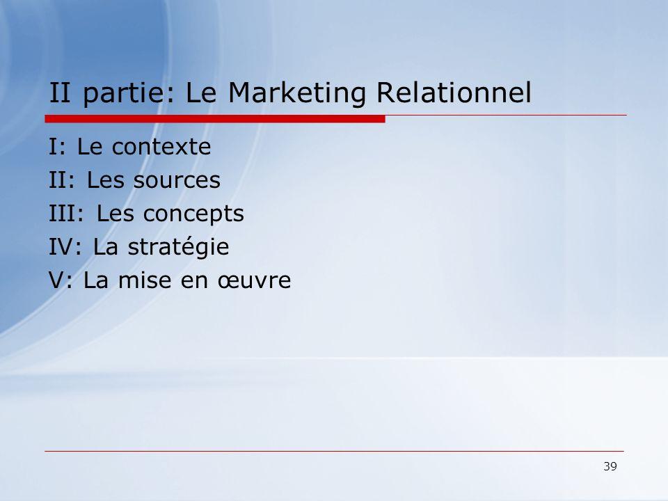 39 II partie: Le Marketing Relationnel I: Le contexte II: Les sources III: Les concepts IV: La stratégie V: La mise en œuvre